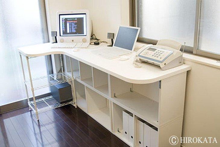 L型カウンターテーブル白メラミン化粧板天板