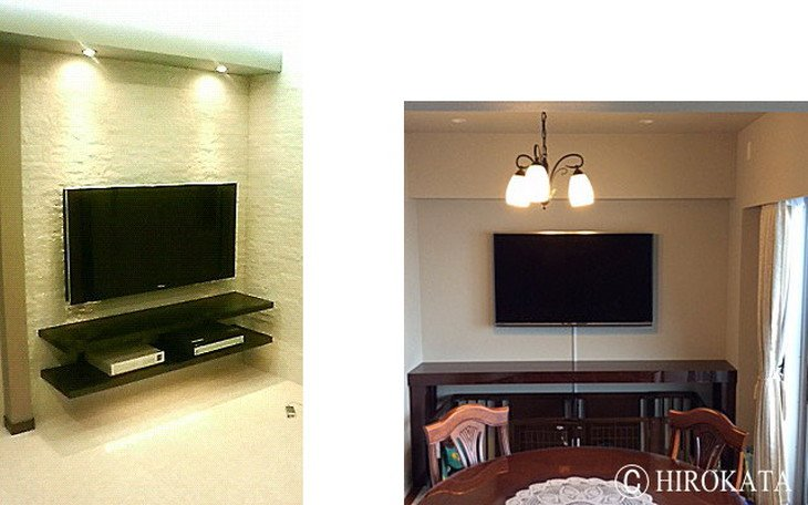 テレビ設置用壁埋め込みカウンター天板黒鏡面