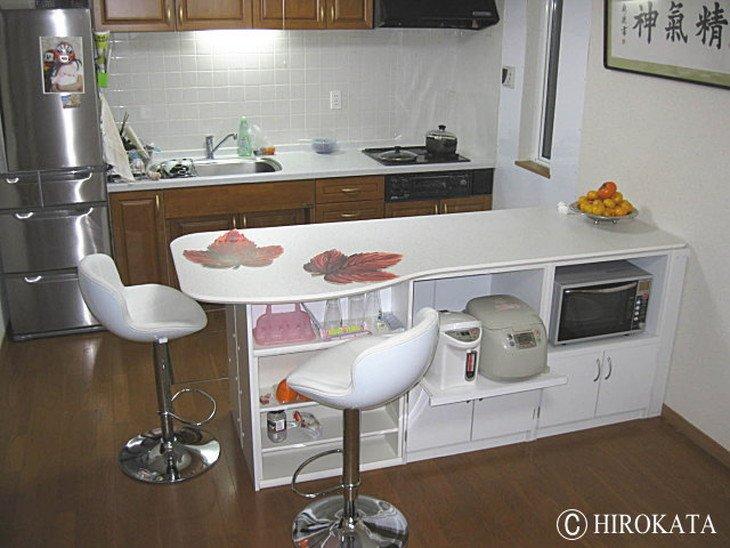 キッチン間仕切りオープンダイニングカウンター天板