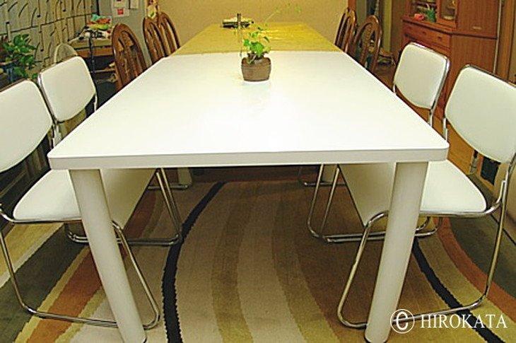 リビングダイニングテーブル白サイズ自由の天板オーダー製作