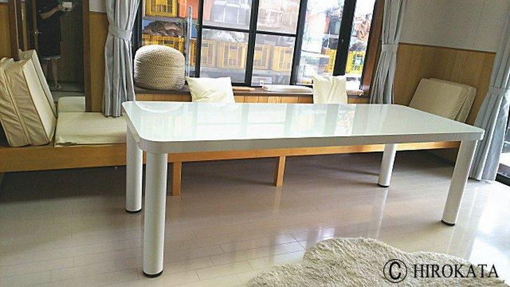 大型リビングダイニングテーブル鏡面艶有り白
