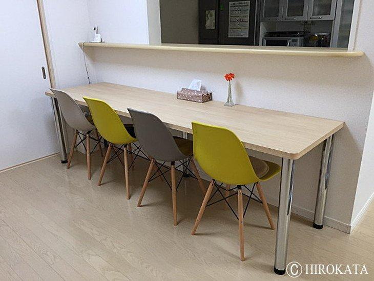 台所対面式ダイニングカウンターテーブル白木目調