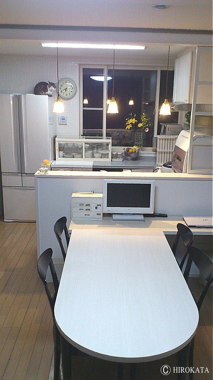 ダイニングテーブルオシャレな白でモダンなメラミン化粧板天板のみ