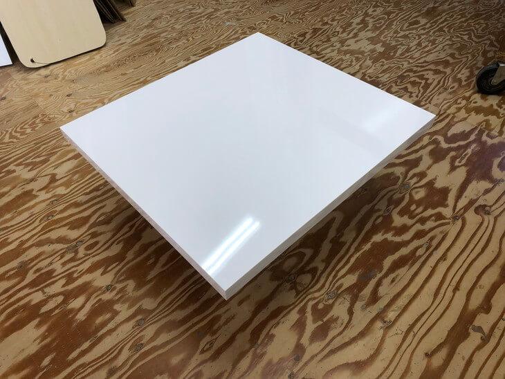 テーブル天板メラミン 白鏡面