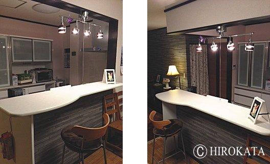オープンキッチンハイカウンターテーブル天板