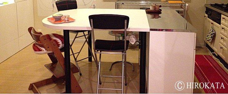 対面式オープンキッチンカウンター天板