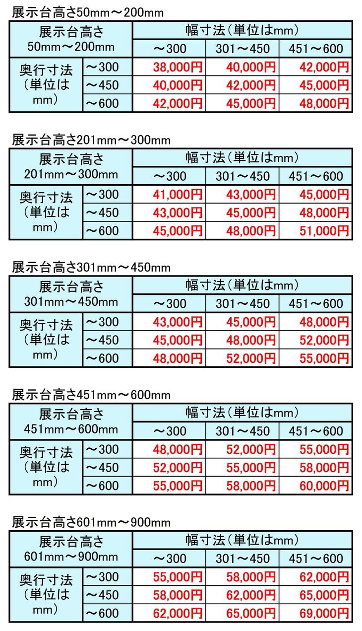 展示台単価表