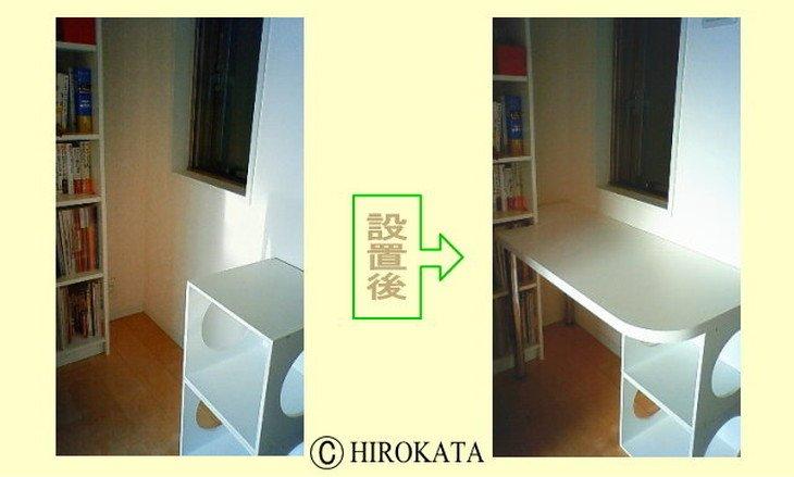 書斎学習机壁すき間スペースにサイズオーダー天板取り付け