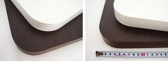 メラミン化粧板天板のコナー最小曲線半径は50mm