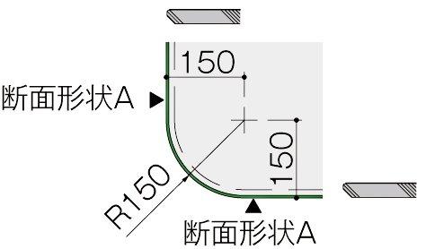 カウンター天板のコーナー形状