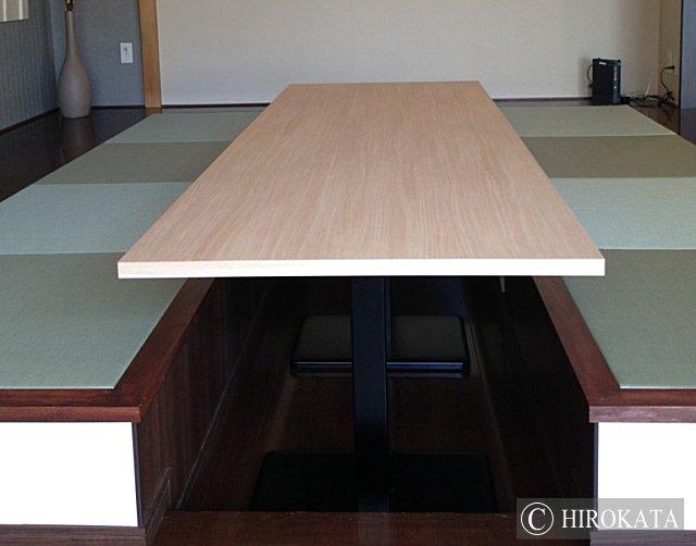アイカメラミン化粧板仕上げの掘り込み座卓の天板