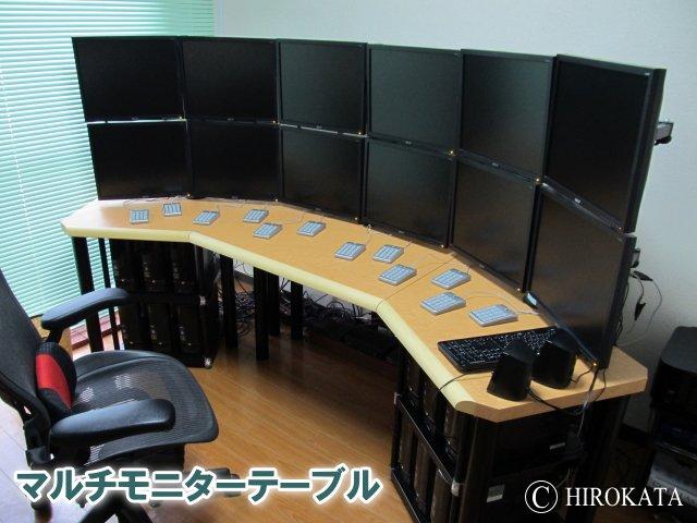 マルチモニターテーブル、サイズや形状は自由設計、デュアルディスプレイテーブルも対応できます。