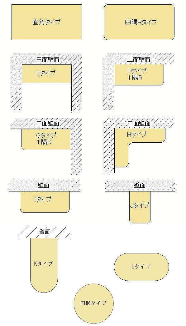 テーブル天板やデスク天板の平面形状図面