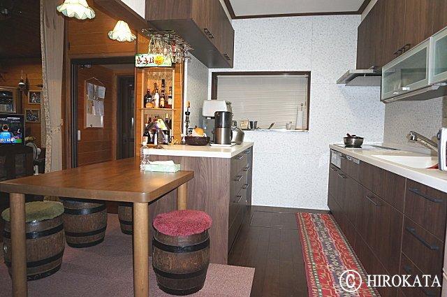 キッチンダイニングカウンターテーブル 無垢集成材天板