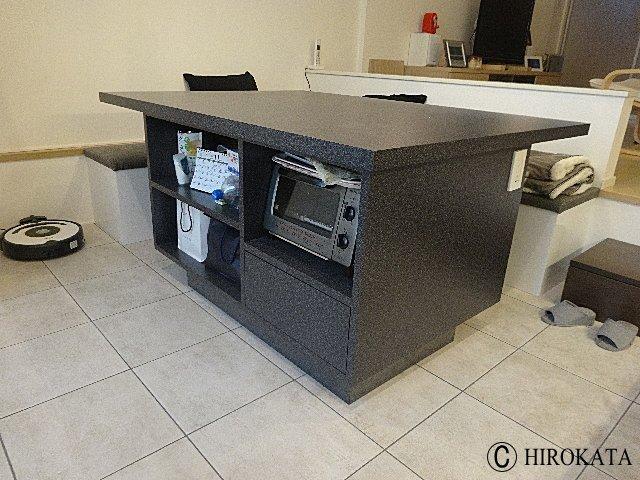 ダイニングカウンターテーブル メラミン化粧板製作り付け家具