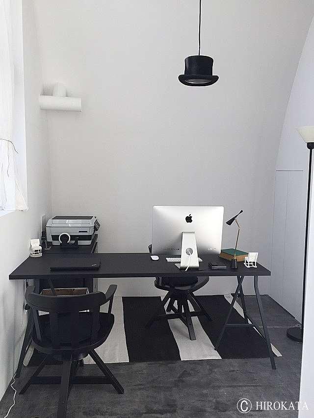 オフィス デスク 黒色メラミン化粧板