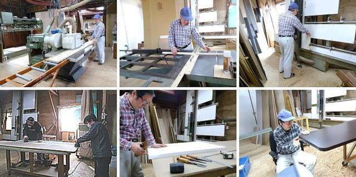 熟練家具職人によるテーブル天板オーダーメイドの製作作業の様子