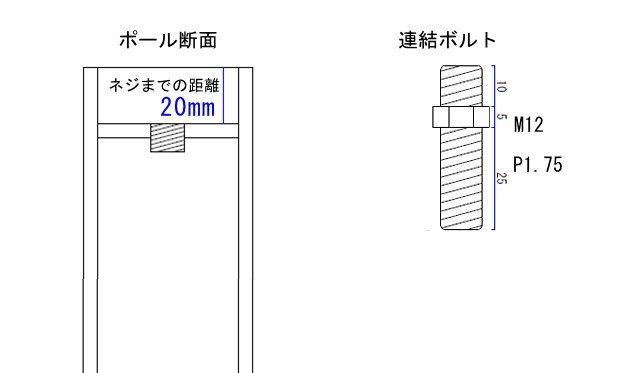 カウンターテーブル用の脚パーツ金具詳細図