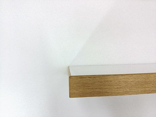 タモムク材縁でホワイトメラミン化粧板天板オーダー