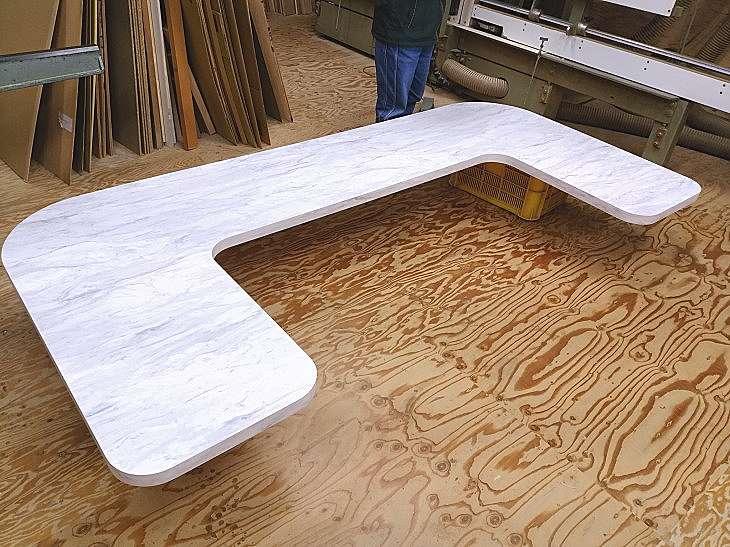 大型テーブル天板大理石風 コの字型