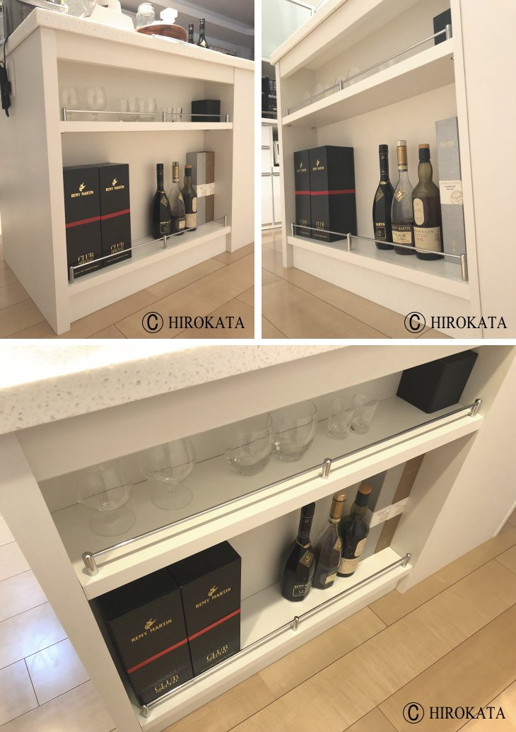 キッチンカウンター収納の中の棚を新設、こぼれ止め金具付き