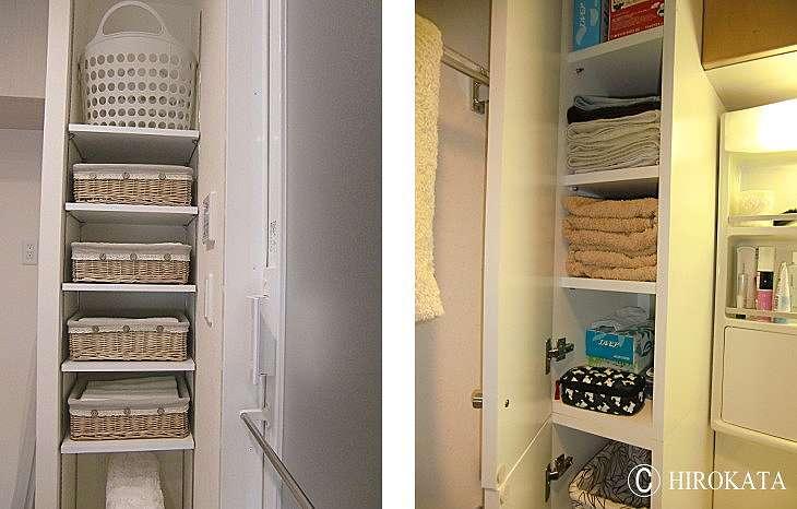洗面所のタオルや洗剤を収納する棚板を増やす事ができます。