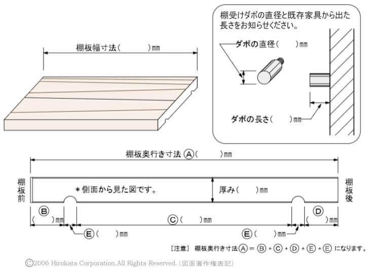 棚板の滑り止め ダボ溝加工詳細記入用図面