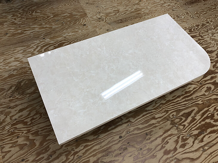 鏡面白ダイニングテーブル