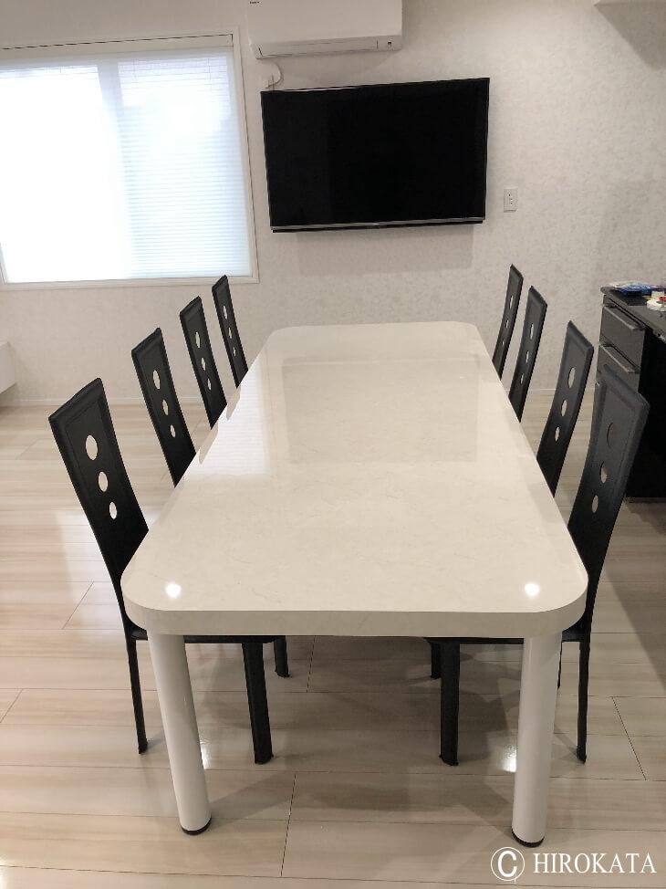 8人用 大型ダイニングテーブル 白艶有り2m
