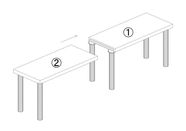 大型テーブル天板の連結ボルトによる接続方法
