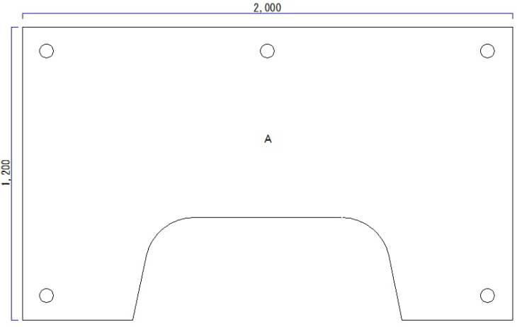 L型パソコンデスク図面