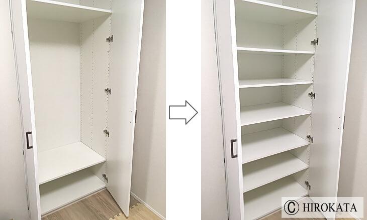 クローゼット収納の棚板不足を追加増設で解決