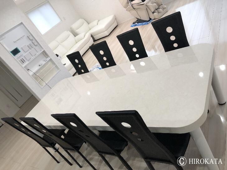 メラミン化粧板販売(アイカメラミン化粧板仕上げの天板加工通販)大理石風大型ダイニングテーブル天板