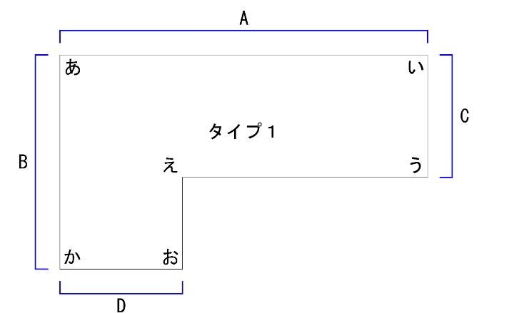 L字型パソコンデスクの平面図