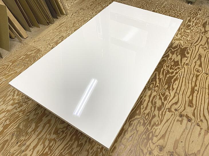 鏡面白ダイニングテーブル天板