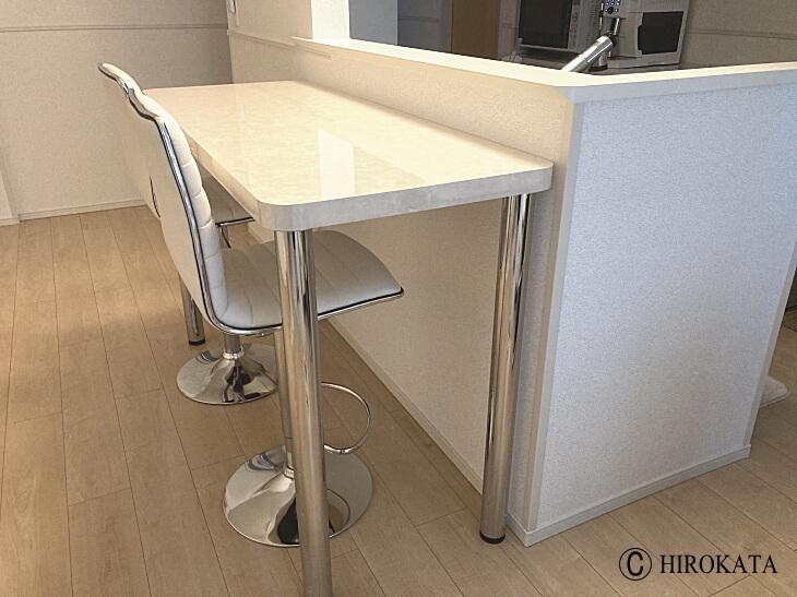 鏡面大理石柄対面キッチンカウンターテーブル