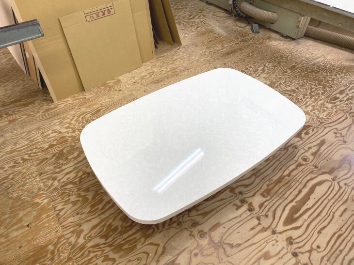 楕円形【小判型、卵型】鏡面大理石調ダイニングテーブルの天板