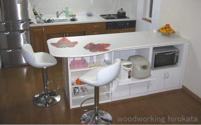 メラミン化粧板仕上げ天板のダイニングカウンター・キッチンカウンター