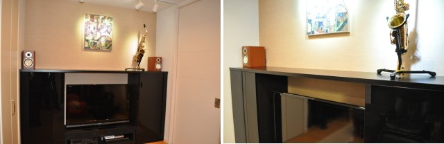 既製品キャビネットへの天板設置例