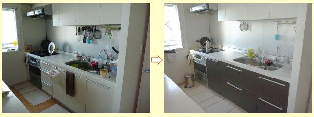 キッチン流し台の扉パネル、引き出しパネルの交換
