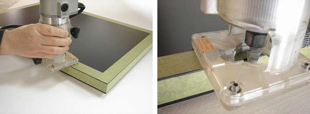 メラミン化粧板にトリマーを使用する時は化粧板の保護をする。