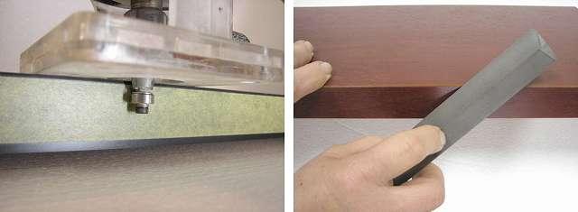 メラミン化粧板の研磨加工