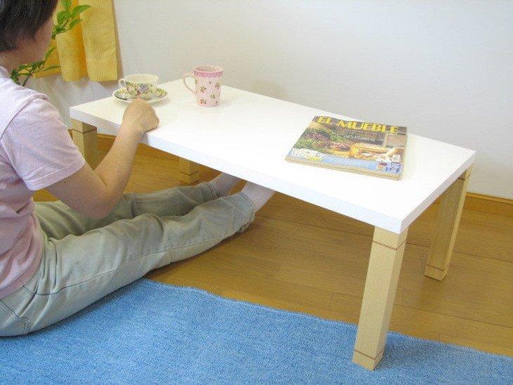 白色ローテーブルがサイズオーダーできる