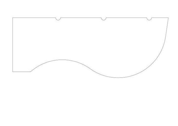 メラミン化粧板テーブル天板ウェーブ曲線図面