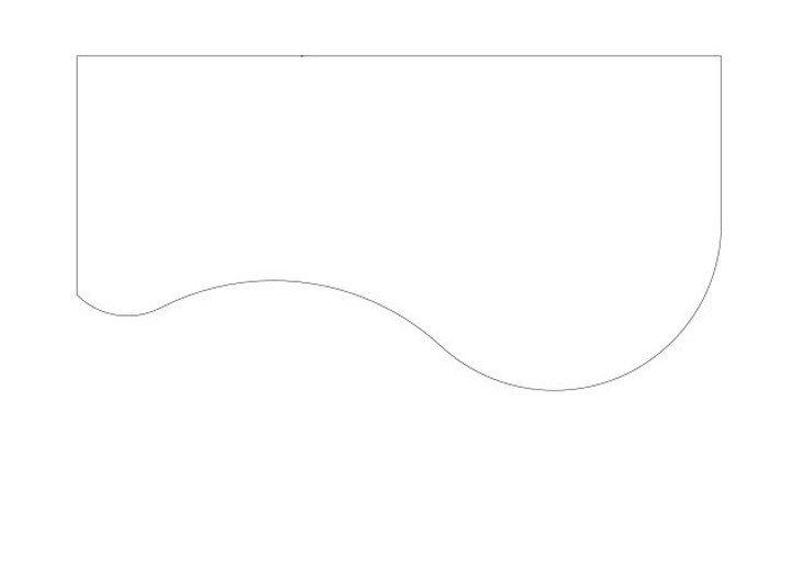 メラミン化粧板テーブル天板ビーンズ壁付け型図面