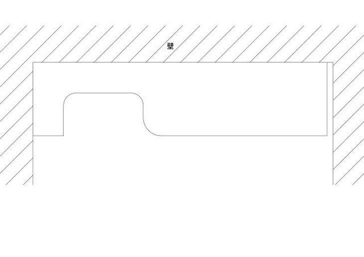 メラミン化粧板テーブル天板壁おさまり図面