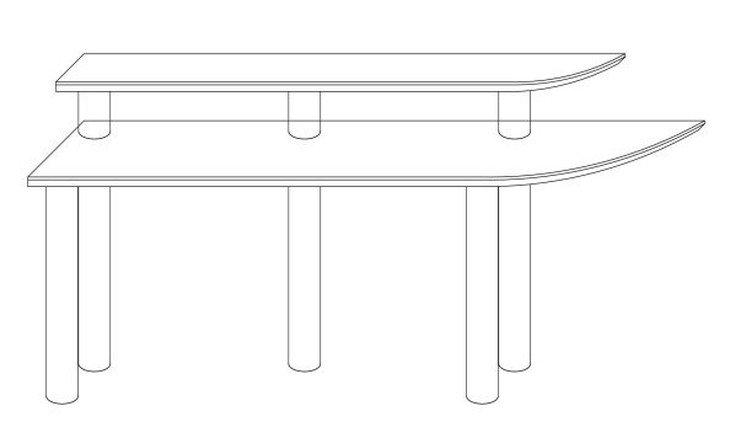 メラミン化粧板テーブル天板二段棚図面