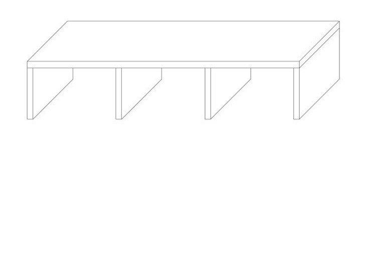 メラミン化粧板テーブル天板コの字型図面