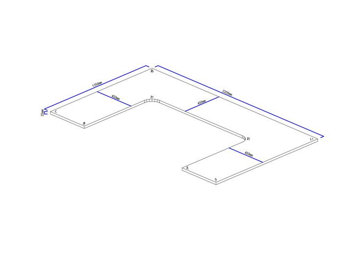 コの字型カウンター立体図
