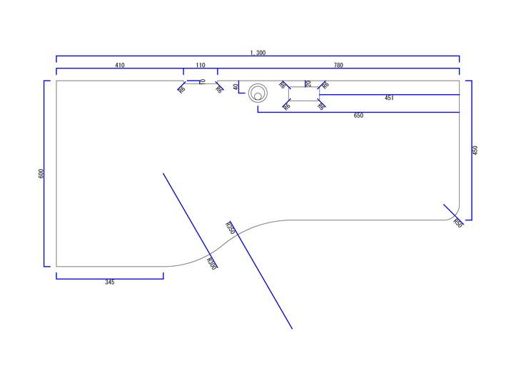 座る辺がなめらかな曲線のデスク図面